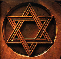 Star of David on wood